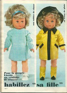 Le magazine Echo de la mode du 14 novembre 1965 proposait un joli trousseau pour la poupée Lisette ainsi que les patrons pour le réaliser. ...