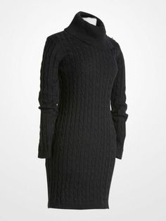 Calvin Klein Charcoal Cowlneck Sweater Dress $49.99 #designer #deal #sale #cable #cozy #winter #fall #womens #fashion #style