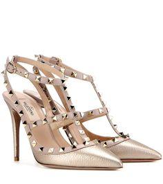 Valentino - Sling-backs en cuir métallisé doré