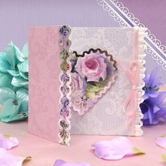 Card made using Vase Full of Beauty Luxury Topper Set from the Frosted Florals collection by Hunkydory Crafts http://www.hunkydorycrafts.co.uk/acatalog/Vase-Full-of-Beauty-Luxury-Topper-Set-FROST905.html#SID=372