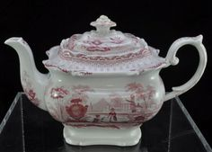 "Antique Pink Red Staffordshire Mayer ""Canova"" Teapot and Creamer circa 1830"