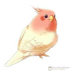 Pink by Era-Artwork on DeviantArt Kpop Drawings, Bird Drawings, Animal Drawings, Parrot Drawing, Cat Drawing, Angry Birds Stella, Cute Kawaii Animals, Dibujos Cute, Shadow Art