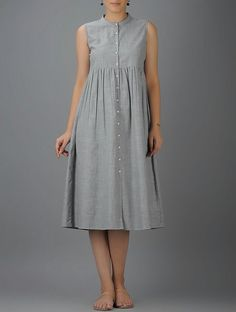 Grey Button-down Cotton Dress with Gathers by The Wooden Closet. Grey Button-down Cotton Dress with Gathers by The Wooden Closet. Kurta Designs Women, Kurti Neck Designs, Kurti Designs Party Wear, Blouse Designs, Stylish Dresses, Simple Dresses, Modest Dresses, Casual Dresses, Maternity Dresses Summer