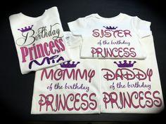 Mommy & Daddy of the birthday princess BIRTHDAY PRINCESS family shirts photo shoot novelty shirts birthday shirts by GlitterGirlsShopLLC on Etsy