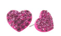 Mini Hot Pink Pavé Heart Studs $10