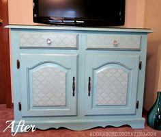 A vintage turquoise buffet turned TV cabinet. Drawer and door fronts stencilled in an aged Morrocan stenciled finish to give it more style. Crystal knobs and a glass top  give it some glitz and glamour.  This is a perfect-sized TV cabinet to house your flat screen TV in a small space.