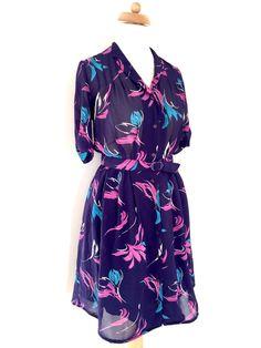 Great gift for vintage lovers. Vintage Mini Dresses – Vintage Dress Blue Purple White Floral 70's Print – a unique product by Happy-Sweaters via en.DaWanda.com