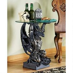 Hastings, the Warrior Dragon Glass-Topped Sculptural Table $299.00  http://www.designtoscano.com