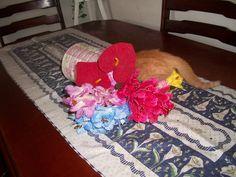 Pipico acabando com o arranjo da mesa - com dois meses de vida