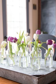 Quick and Inexpensive Centerpiece with tulips. Great for spring!