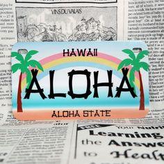 好きな文字をプリントできる、アメリカ製のナンバープレート。世界に1枚しかないナンバープレートが作れます!こちらはバイク用サイズ・ハワイのヤシの木デザイン。