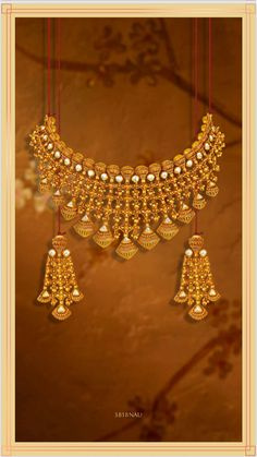 Browse our large collection of Jewelry Designs Online in India. Here you can find thousands of ideas and images on Jewellery Design in Gold, Silver, Diamond and more. Real Gold Jewelry, Gold Jewellery Design, Indian Jewelry, Diamond Jewelry, Tanishq Jewellery, Wedding Jewelry, Gold Choker, Gold Necklaces, Mehndi Art