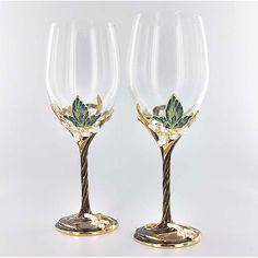handcrafted butterfly wine glasses