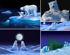 Coke Polar Bears ... In 1993, The Polar Bear ads ads ran around the world and included a variety of innovative technical approaches, such as computer animation. (These advertisements sparked my desire to create something similar for a living...I was a year from high school graduation & the artist inside me was truly born!)