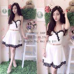 Set áo cúp 2 dây + váy xoè SỈ 125 màu đen, trắng, vải cát https://www.fb.com/quanaosilegiarenhat