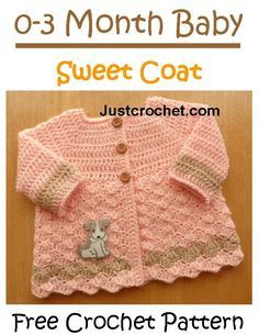 Pretty and sweet coat with link to matching hat http://www.justcrochet.com/cardigan-usa.html #justcrochet #crochet