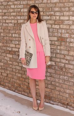 Monochrome pink, nude heels and leopard print clutch.