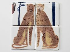 cheetah Where the Wild Things Are: Tiles from Laura Carlin : Remodelista Laura Carlin, Modern Ceramics, Little Birds, Ceramic Painting, Tile Patterns, Handmade Crafts, Handmade Tiles, Cat Art, Decoration