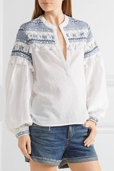 Dodo Bar Or - Embellished Embroidered Cotton-gauze Top - White - medium