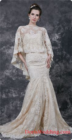 Lace and Sweetheart Lace Wedding Dress With Lace Cape #DorisWedding #Vintage #Lace #Wedding #Dresses