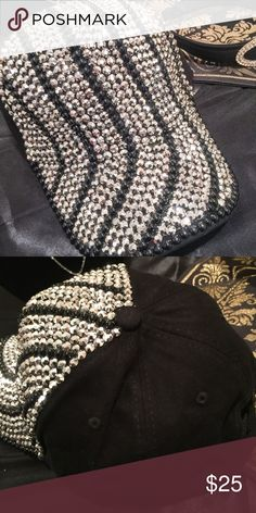 Beaded Rhinestone Baseball Cap Stunning and unique baseball cap drenched in black pearls/beads and rhinestones. Design covers the front as shown in picture. Adjustable fit. Do not miss out on this beauty! A Classy Closet 4 U Accessories Hats
