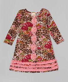 Taupe & Pink Floral Rosette Shift Dress - Toddler & Girls by Pink Vanilla #zulily #zulilyfinds