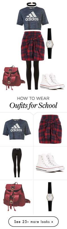 """School Outfit"" by eri-tay on Polyvore featuring Topshop, River Island, Converse, adidas, Dorothy Perkins and Nurse Mates"