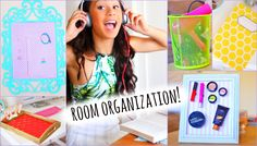 Easy Ways To Get Organized! DIY Room Decor + Tips  Saw some amazing things that you can use for room organization, yet still have your room cute and tumblr-y