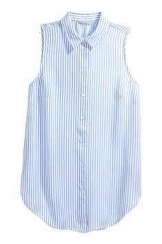Mouwloze blouse - Lichtblauw/gestreept - DAMES | H&M NL 1
