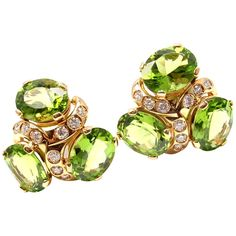 Verdura Three Stone Peridot Diamond Yellow Gold Earrings | From a unique collection of vintage clip-on earrings at http://www.1stdibs.com/jewelry/earrings/clip-on-earrings/