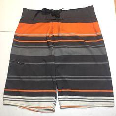 682734eaef53c Hang Ten 10 Mens Board Shorts Swim Suit Orange Gray Striped Size 32  #HangTen #