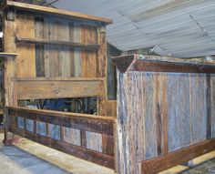 Barn wood bed - queen size! I got to keep this one and I love it! Eddie Abernathy at Barn Wood Furniture built it and used old timbers for the posts.
