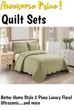 Better Home Style 2 Piece Luxury Floral Ultrasonic Embossed Solid Color Quilt Coverlet Bedspread Oversized Bed Cover Set * Stacy (Sage Green, Twin) ... (This is an affiliate link) #quiltsets