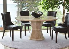 Marcello dining table round medium - M. Round Dining Table Small, Dining Tables, Brown Leather Chairs, Flooring Shops, Outdoor Furniture Sets, Outdoor Decor, Beautiful Interiors, Living Spaces, Dining Room