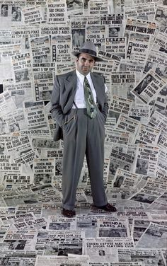 American gangster Mickey Cohen amongst the front pages of newspapers which helped make him the city's most infamous citizen, Los Angeles, California, Get premium, high resolution news photos at Getty Images Mickey Cohen, Newspaper Front Pages, Newspaper Background, Mafia Gangster, Creative Fashion Photography, Mobb, Bonnie N Clyde, Poses For Men, Photos Of The Week