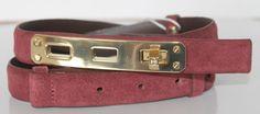 93.49$  Buy here - http://vipwz.justgood.pw/vig/item.php?t=cwdgst45409 - New Tory Burch Byrnn Women Belt Cabernet Gold Turn Lock XXS Leather Burgund USA
