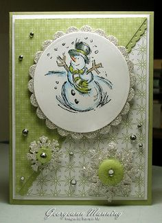 Cardstock: Pear Pizazz, Whisper White - Patterned Paper : Pear Pizazz - Stamps: Jolliest Time of the Year Sliver Glitter Paper, Rhinestones, Subtles buttons