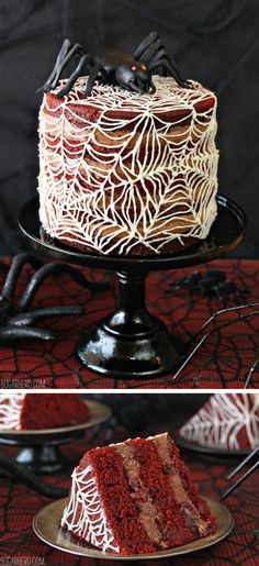 """Spiderweb Naked Red Velvet Cake, a """"semi-dressed"""" red velvet cake with a chocolate-cherry cream cheese frosting!   From SugarHero.com"""