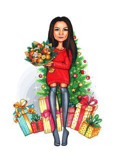 Ney year custom illustration Christmas gift present drawing portrait art cartoon