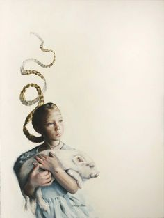 """Young Lady With A Chester White 40x30"""", Oil on Canvas, 2011 (sold)  down the rabbit hole"""