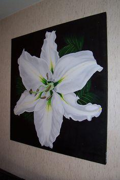 Lys Blanc sur fond noir n°2 100x100 cm Vendu
