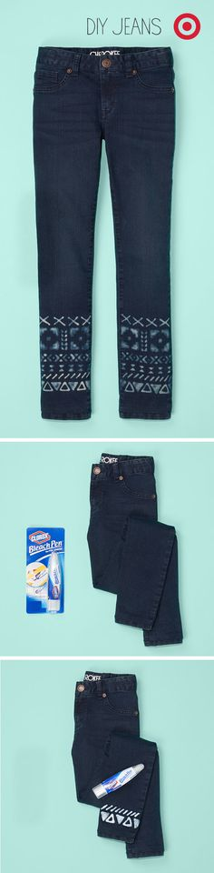 Transforming kids' jeans into a stylish piece of art is just a bleach pen away.