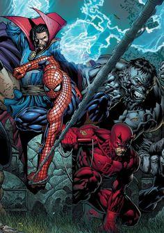 """ Dr. Strange, Spider-Man, Daredevil, & The Hulk by David Finch """