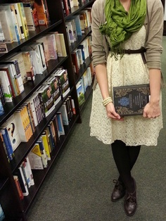 Belted Cream and Lace Dress; Green Scarf. Oxford Shoes. Black Tights. Library.