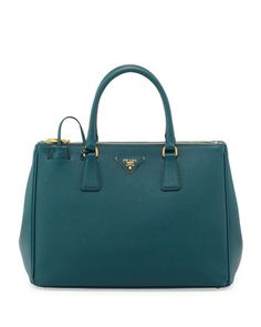 Saffiano Double-Zip Executive Tote Bag, Teal (Ottanio) by Prada at Bergdorf Goodman.