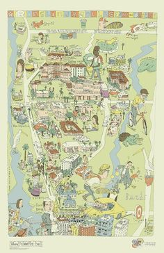 Regan Dunnick's map illustration of Ringling College of Art and Design, Sarasota, Florida. Nice to see the College represented in a more organic way. How look would this look in a nice frame on our walls here at the madeby Gallery in Sarasota, FL.?