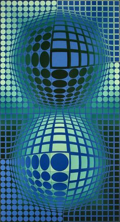 Victor Vasarely, Battor, Limited Edition, Serigraph on Paper at Doubletake Gallery Victor Vasarely, Op Art Lessons, Opt Art, Josef Albers, Illusion Art, Blue Art, French Artists, Famous Artists, Optical Illusions