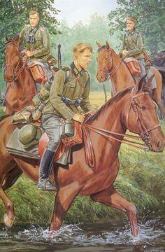 Pinturas II Guerra Mundial — 1945 04 Austria, last battle - Ron Volstad - box. Ww2 Uniforms, German Uniforms, German Soldiers Ww2, German Army, Military Art, Military History, Operation Barbarossa, Ww2 Posters, Military Drawings