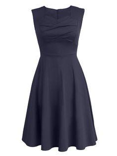 Vintage Hepburn Style Women High Waist Pure Color Dresses