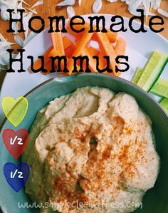 Homemade Hummus - 21 Day Fix Recipes - Clean Eating Recipes Healthy Recipes - Dinner - Lunch  weight loss www.simplecleanfitness.com